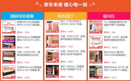 苏宁易购双十二开门红12小时战报,取暖小家电销量同比增长106%