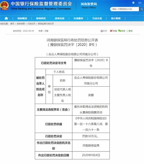合众人寿保险河南分公司被行政处罚30万