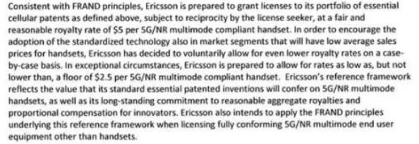 华为宣布开收5G专利费 每部手机上限2.5美元