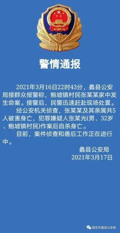 河北一家5口被害,最小的死者两岁!嫌疑人已自杀身亡