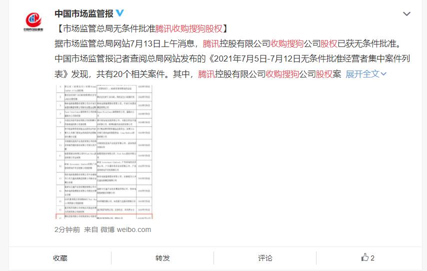 国家市场监管总局批准腾讯并购搜狗 腾讯市值飙升超2500亿港币
