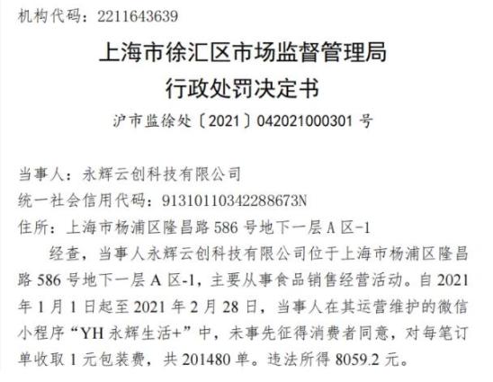 永辉超市小程序收取1元包装费被处罚 奶茶外卖包装费就合理吗?