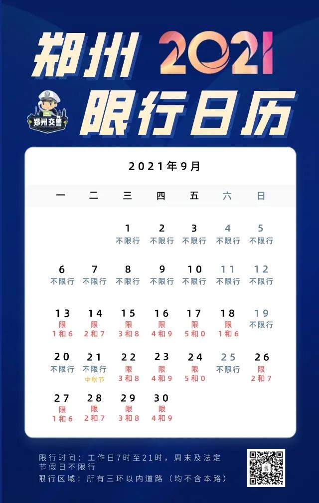 限行提醒!郑州(9月13日)周一限号1和6!