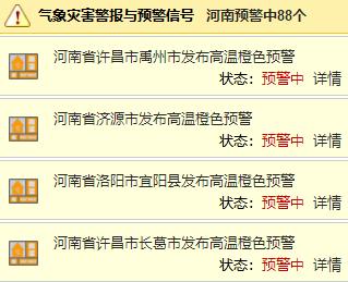 河南连发88条预警!高温+阵雨+雷阵雨!