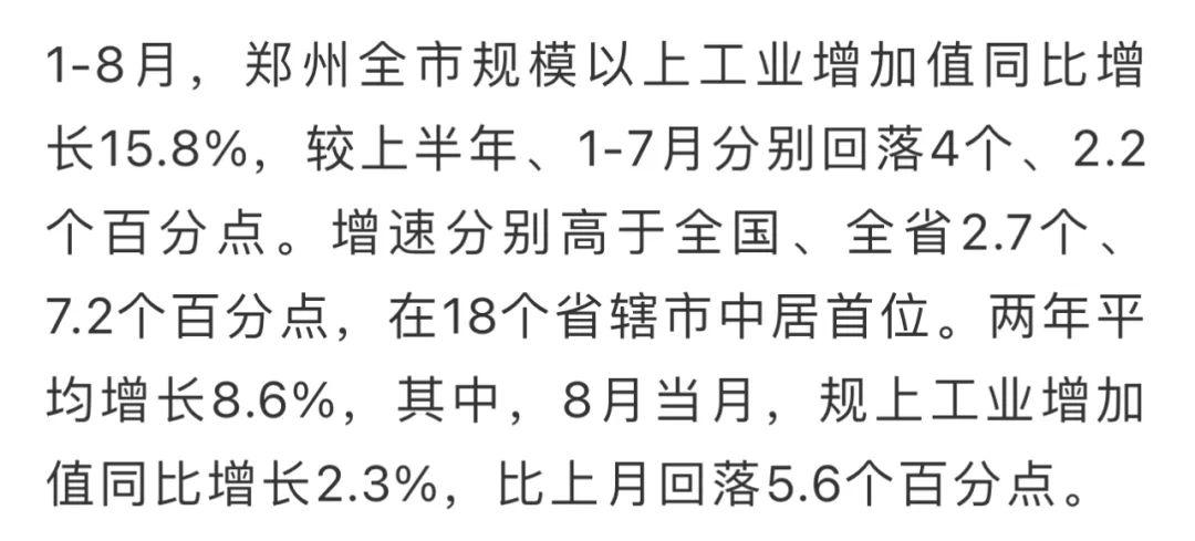 郑州1—8月经济运行情况出炉 规上工业增速放缓
